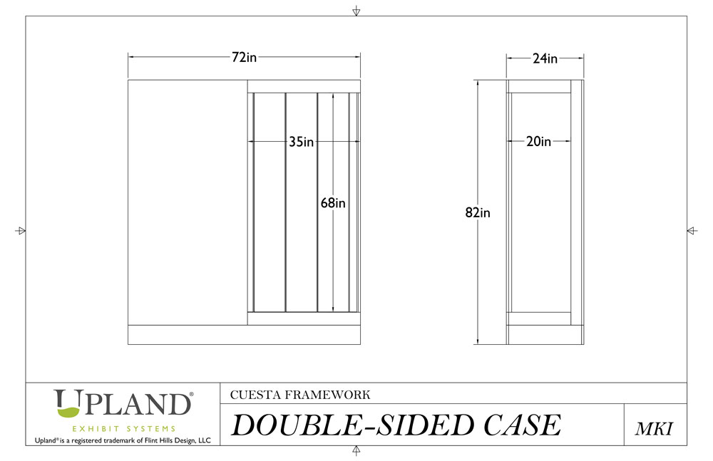 Double-Sided Cuesta Case dimensional drawings