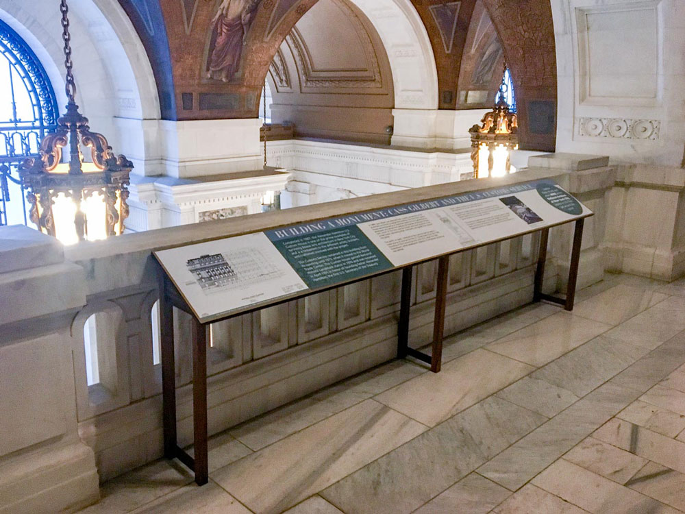 Upland® Exhibit Systems - Modular Reader Rail on display at the National Archives in New York City