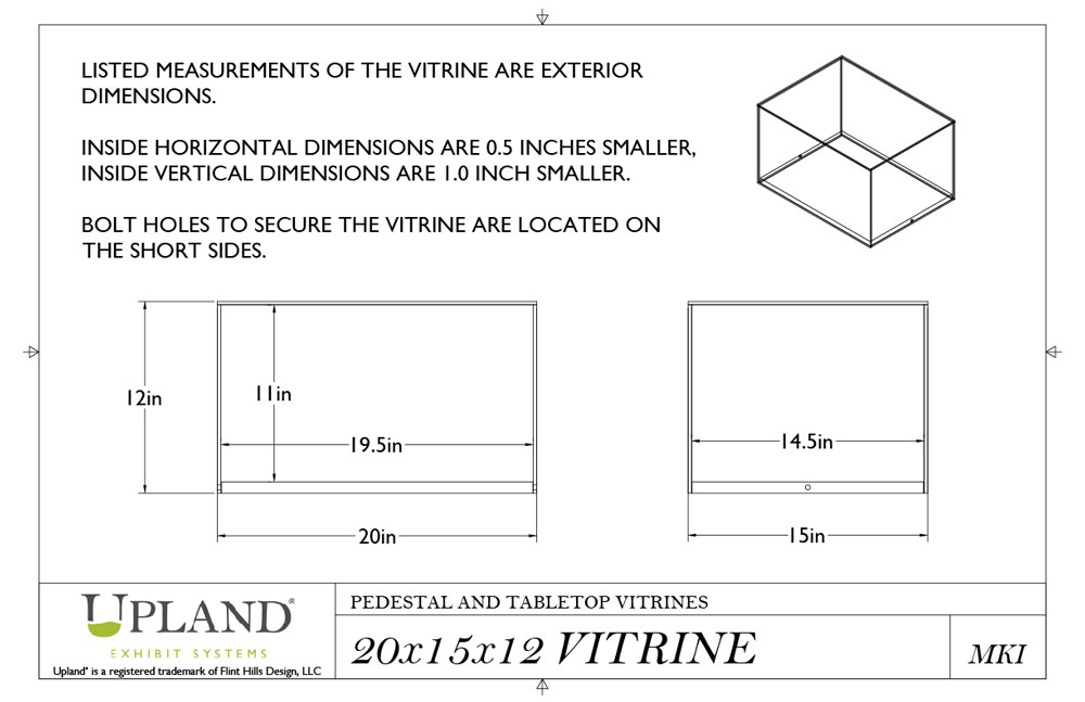 Upland® Pedestal and Tabletop Vitrine Dimensions